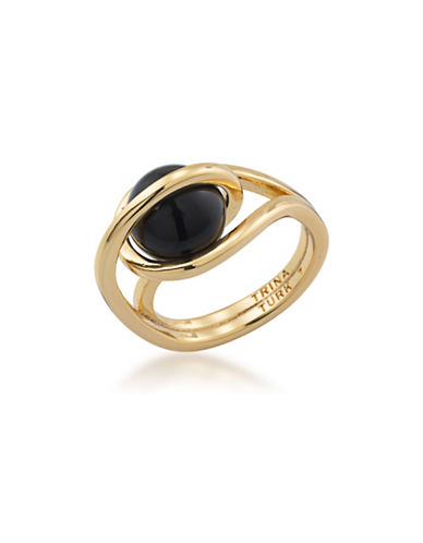 Trina Turk Psychedelica Caged Ring-BLACK-One Size