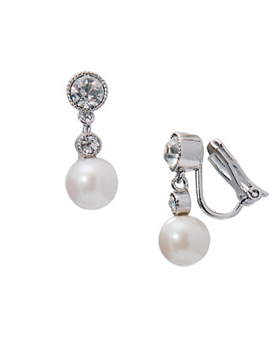 Lauren Ralph Lauren Social Set Simulated Pearl Double Drop Clip-On Earrings-WHITE-One Size