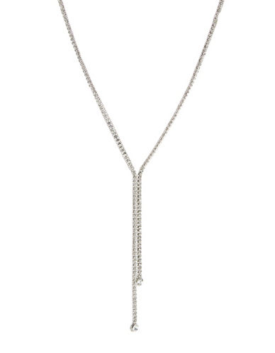 A.B.S. By Allen Schwartz Faceted Lariat Necklace-SILVER-One Size