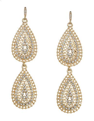 A.B.S. By Allen Schwartz Embellished Double Teardrop Earrings-GOLD-One Size