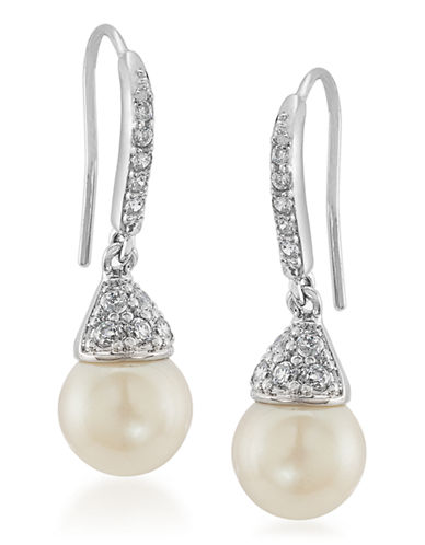 Carolee The Gina Pearl Drop Pierced Earrings Silver Tone No Stone Drop Earring-SILVER-One Size