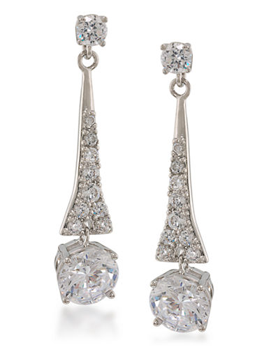 Carolee The Demi Linear Drop Pierced Earrings Silver Tone Crystal Drop Earring-SILVER-One Size