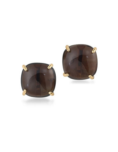 Trina Turk 14K Goldplated Retro Mod Topaz-Look Stud Clip Earrings-BROWN-One Size