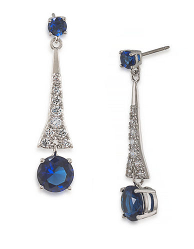Carolee The Carly Royal Blue Drop Pierced Earrings  Silver Tone Crystal Drop Earring-BLUE-One Size