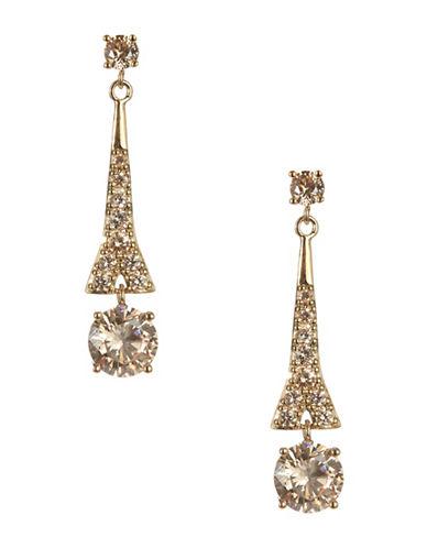 Carolee Crystal Drop Earrings-BROWN-One Size
