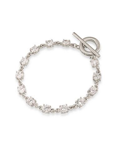 Carolee Silvertone Flex Bracelet-WHITE-One Size