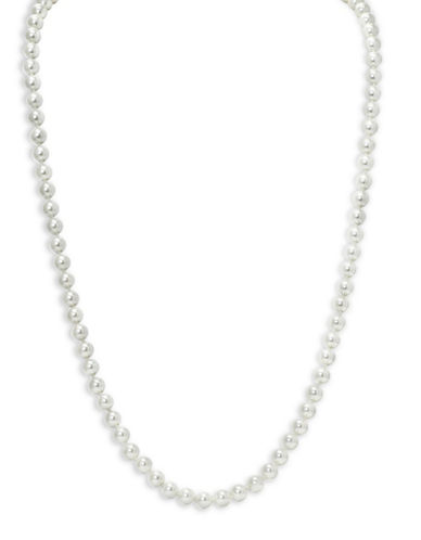 Lauren Ralph Lauren Social Set 8mm Simulated Pearl Silvertone Necklace-WHITE-One Size