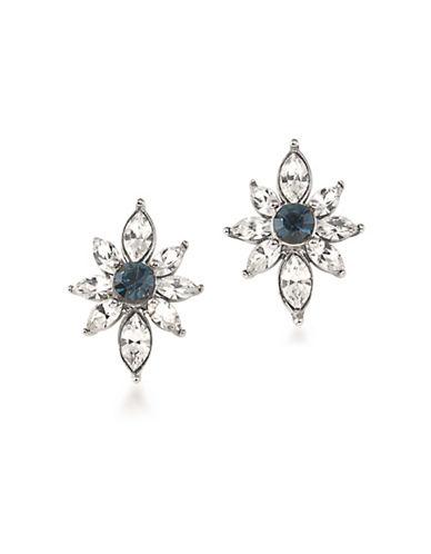 Carolee Silvertone Stud Earrings-BLUE-One Size