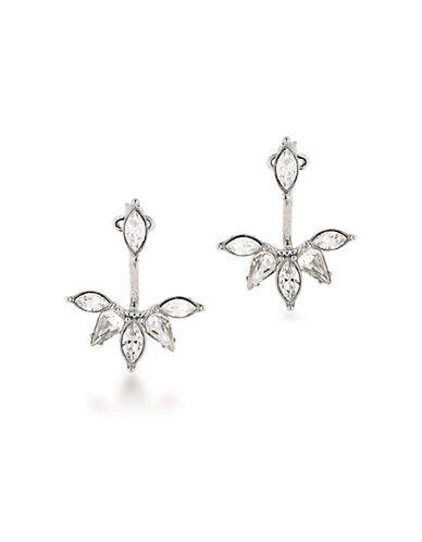 Carolee Silvertone Ear Jacket Earrings-WHITE-One Size