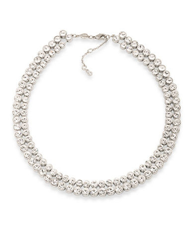 Carolee Silvertone Collar Necklace-WHITE-One Size