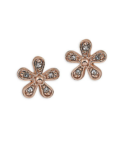 Lauren Ralph Lauren Bridal Rose Goldtone Flower Stud Earrings-WHITE-One Size