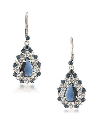 Carolee Silvertone Statement Drop Earrings-BLUE-One Size