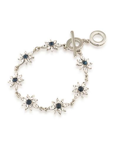 Carolee Silvertone Floral Bracelet-BLUE-One Size