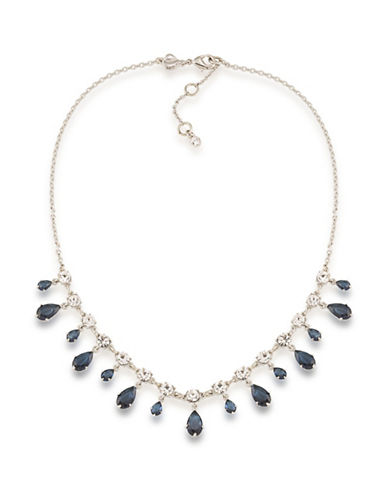 Carolee Silvertone Frontal Drop Necklace-BLUE-One Size