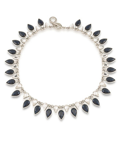 Carolee Silvertone Statement Choker Necklace-BLUE-One Size