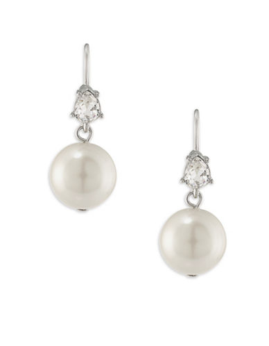 Carolee Waldorf Faux Pearl and Czech Stone Double Drop Pierced Earrings-WHITE-One Size