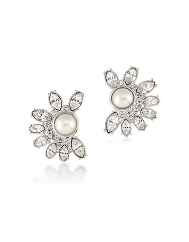 Carolee Silvertone Simulated Pearl Floral Clip-On Earrings-WHITE-One Size