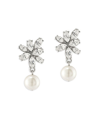 Carolee Simulated Pearl Silvertone Cluster Drop Earrings-WHITE-One Size