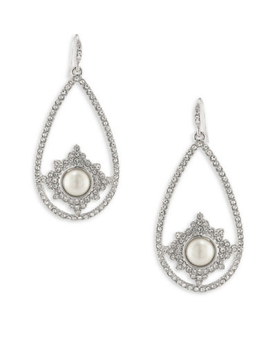 Carolee Simulated Pearl Silvertone Gypsy Hoop Earrings-WHITE-One Size
