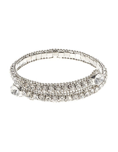 A.B.S. By Allen Schwartz Crystal Coil Bracelet-SILVER-One Size