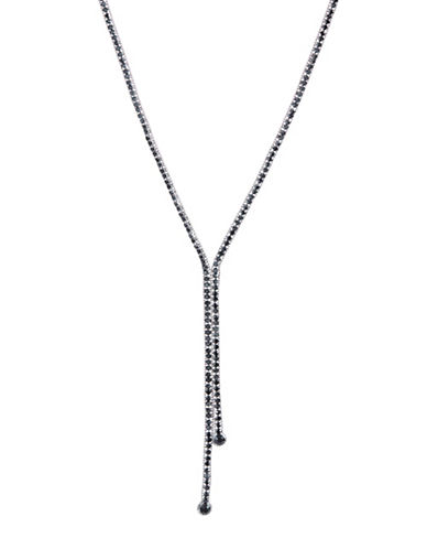 A.B.S. By Allen Schwartz Faceted Lariat Necklace-BLACK-One Size