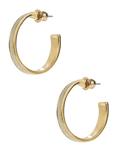 A.B.S. By Allen Schwartz Framed Glitter Hoop Earrings-GOLD-One Size