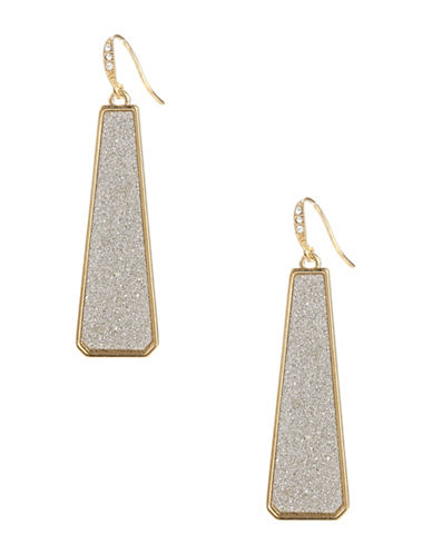 A.B.S. By Allen Schwartz Framed Glitter Linear Drop Earrings-SILVER-One Size