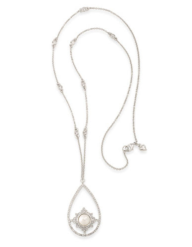 Carolee Faux Pearl Silvertone Pendant Necklace-WHITE-One Size
