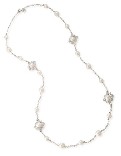 Carolee Faux Pearls Silvertone Illusion Necklace-WHITE-One Size
