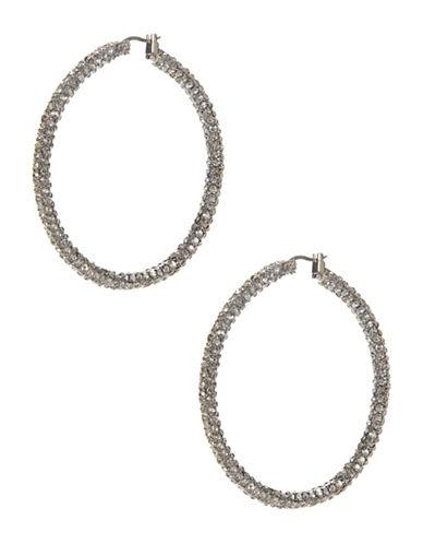A.B.S. By Allen Schwartz Pave Hoop Earrings-SILVER-One Size