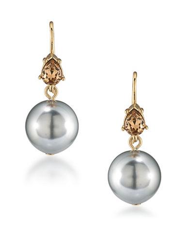Carolee 12K Goldplated 8mm Faux Pearl Double Drop Earrings-GREY-One Size