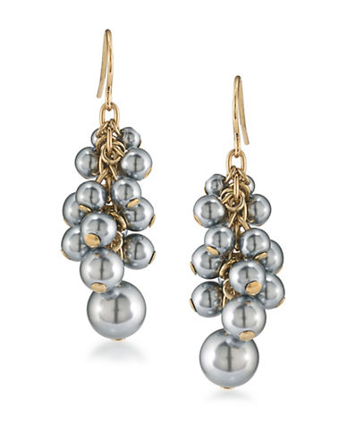Carolee 12K Goldplated Cluster Drop Earrings-GREY-One Size