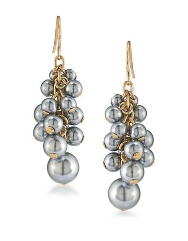 Carolee 12K Goldplated Cluster Drop Earrings-GREY-One Size