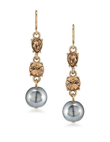 Carolee 12K Goldplated 10mm Faux Pearl Triple Drop Earrings-GREY-One Size