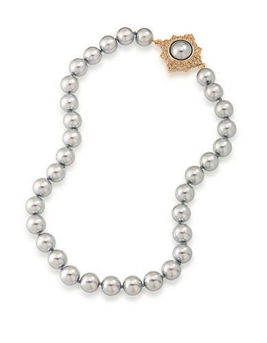Carolee 12K Goldplated Faux Pearl Collar Necklace-GREY-One Size