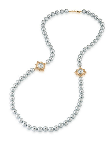 Carolee 12K Goldplated Faux Pearl Rope Necklace-GREY-One Size