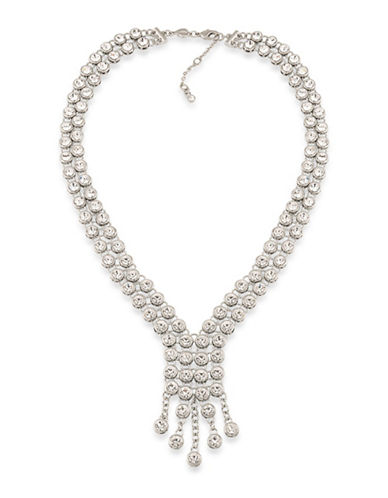 Carolee Silvertone Y Necklace-WHITE-One Size