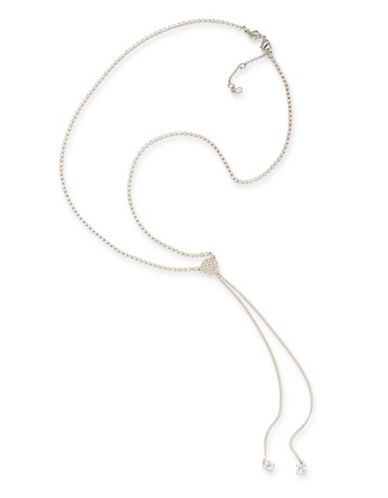 Carolee Silvertone Double Tassel Necklace-WHITE-One Size