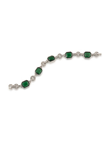 Carolee Wall Street Silvertone Flex Bracelet-GREEN-One Size