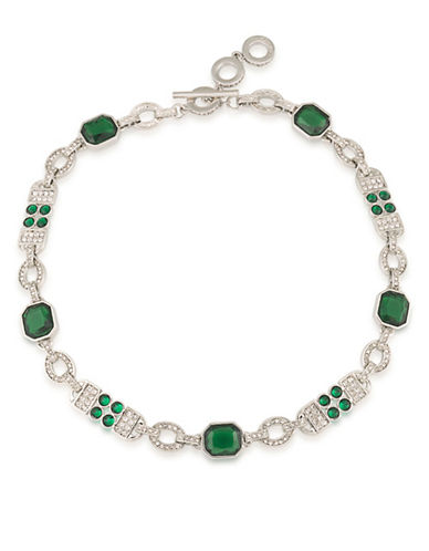 Carolee Wall Street Choker Drama Necklace-GREEN-One Size