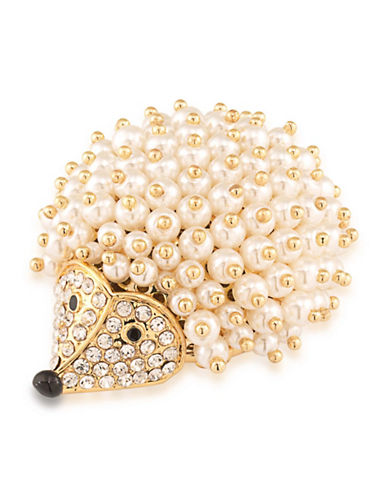 Carolee Night at the Museum Faux Pearl Goldplated Hedgehog Pin-WHITE-One Size