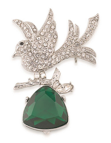 Carolee Night at the Museum Silvertone Learning To Fly Bird Pin-GREEN-One Size