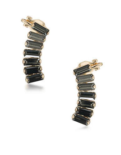 A.B.S. By Allen Schwartz Gardens Goldtone Ear Climber Earrings-BLACK DIAMOND-One Size