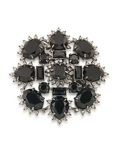 Carolee Gotham Hematite-Tone Cluster Pin-BLACK-One Size
