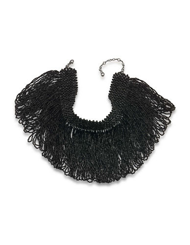Carolee Gotham Statement Fringe Choker Necklace-BLACK-One Size