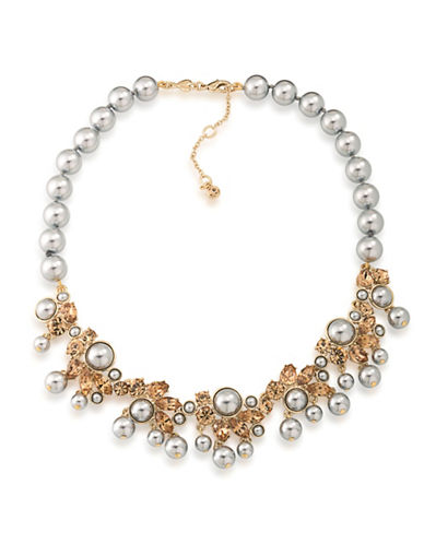 Carolee 12K Goldplated 4-10mm Faux Pearl Statement Collar Necklace-GREY-One Size