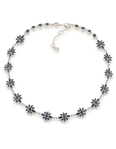 Carolee Silvertone Crystal Choker Necklace-BLUE-One Size