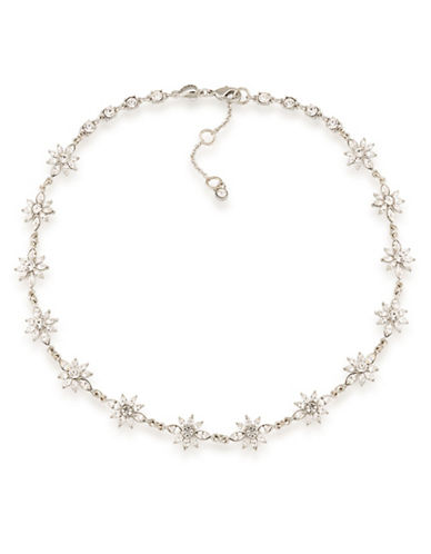 Carolee Silvertone Crystal Choker Necklace-WHITE-One Size