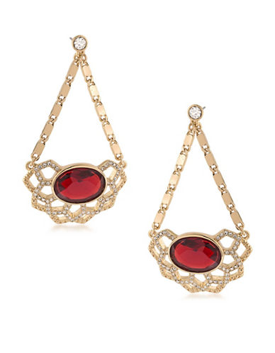Carolee The Big Apple Trapeze Drop Earrings-RED-One Size