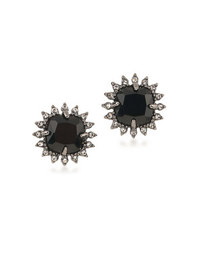 Carolee Gotham Button Clip-On Earrings-BLACK-One Size